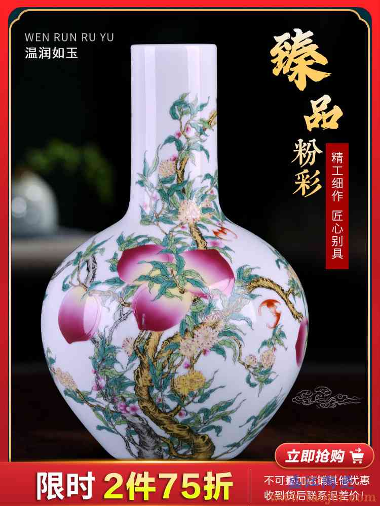 景德镇陶瓷器花瓶插花粉彩瓷瓶摆件中式家居客厅餐桌装饰品电视柜