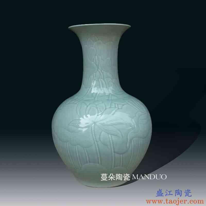 景德镇影青雕刻大花瓶68CM高 手工雕刻荷花瓷器大花瓶高雅花瓶