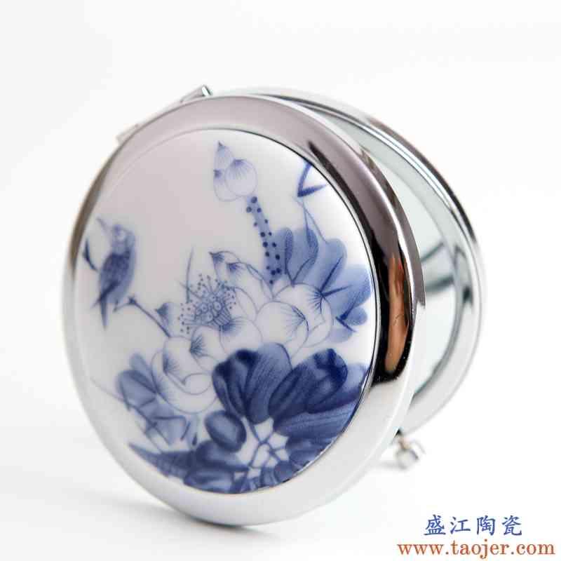 青歌民族风饰品 折叠式镜子 便携带 陶瓷化妆镜 荷花绽放摆摊货源