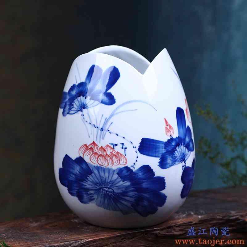 景德镇陶瓷小花插花器手绘青花瓷荷韵摆件时尚简约家庭客厅装饰品