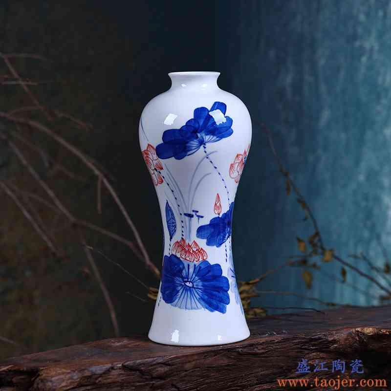 景德镇手绘青花瓷陶瓷小花瓶花器 现代时尚家居客厅装饰工艺摆件