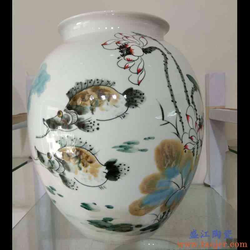 景德镇手绘冬瓜荷花陶瓷花瓶摆件手绘陶瓷大肚陶瓷花瓶家居软装品