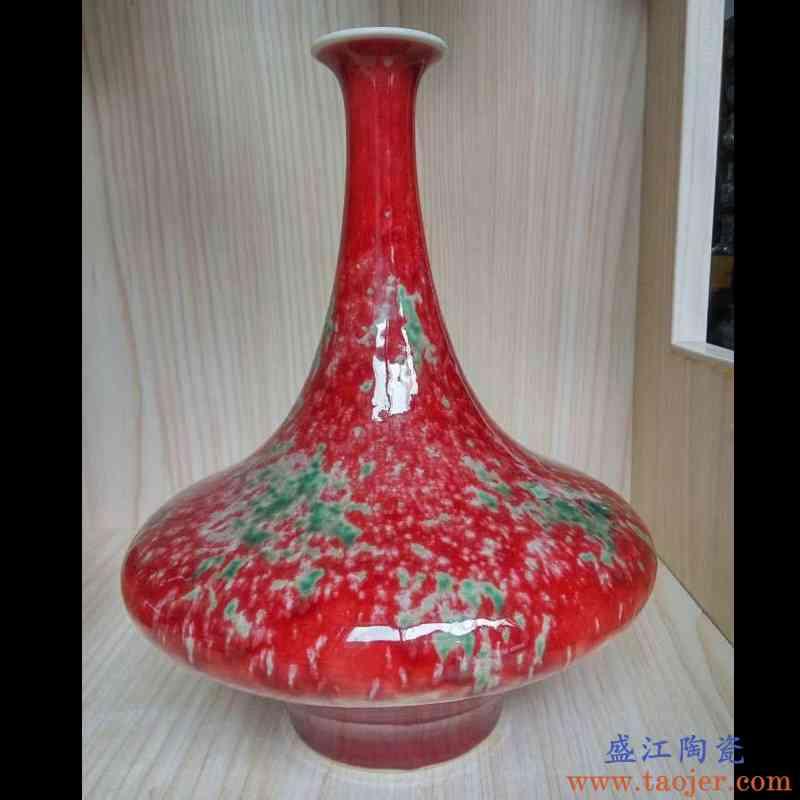 景德镇纯手工拉胚仿康熙美人醉单色窑变豇豆红系列花瓶 博古花瓶