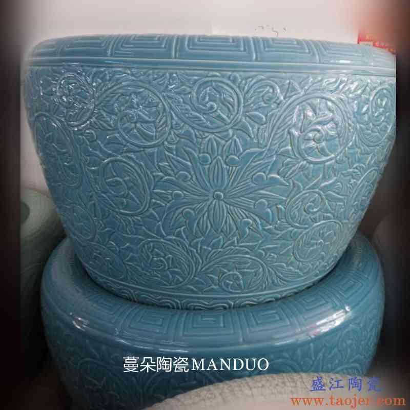 景德镇雕刻裂纹釉书画缸 家居陶瓷瓷器缸 养鱼金鱼实用缸