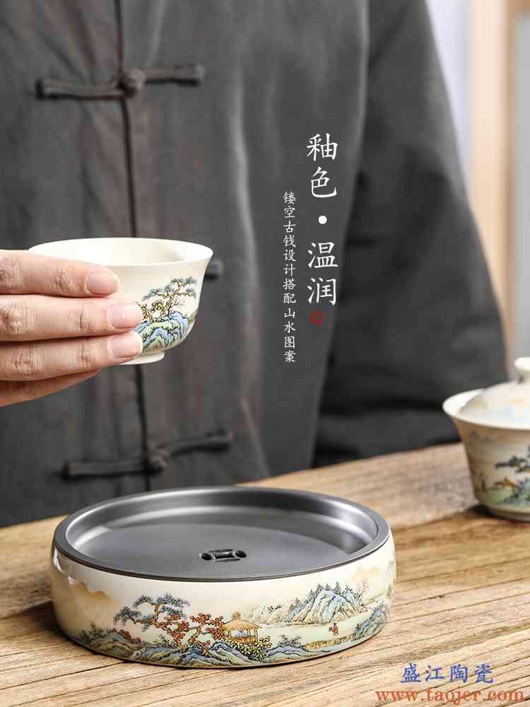 景德镇草木灰釉壶承干泡台纯手工陶瓷茶壶垫手绘山水茶盘杯垫配件