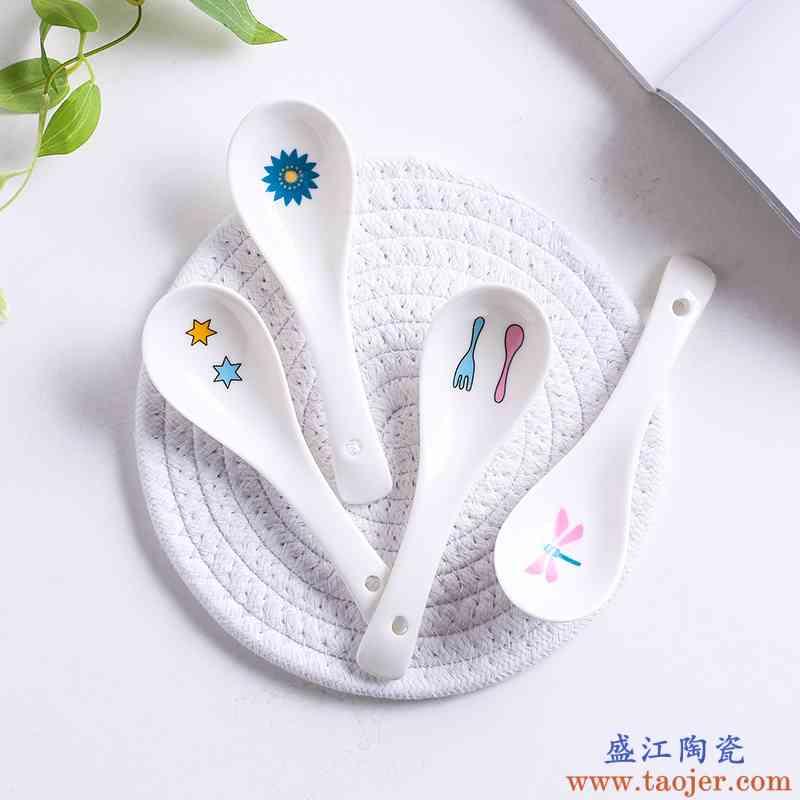 创意汤勺 陶瓷卡通可爱小勺子米饭勺微波炉餐具家用儿童汤匙调羹