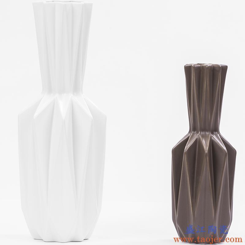 S8北欧家居创意陶瓷花瓶摆件客厅电视柜玄关插花花瓶仿真花花器摆