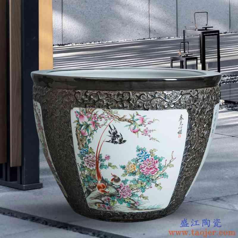 落地大号陶瓷仿古客厅摆件家用养鱼盆鱼缸造景锦鲤缸乌龟缸荷花缸