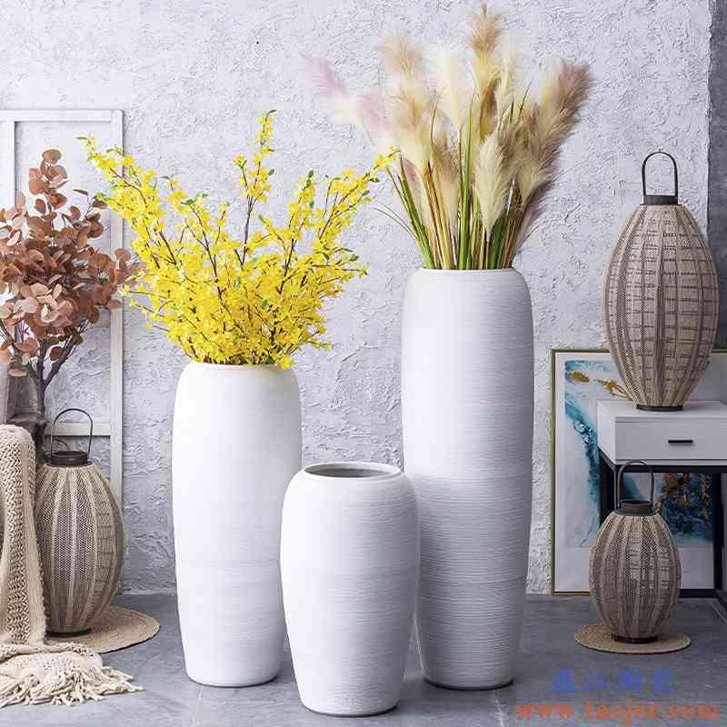 景德镇陶瓷大花瓶北欧客厅插花干花装饰摆件现代简约白色落地陶罐