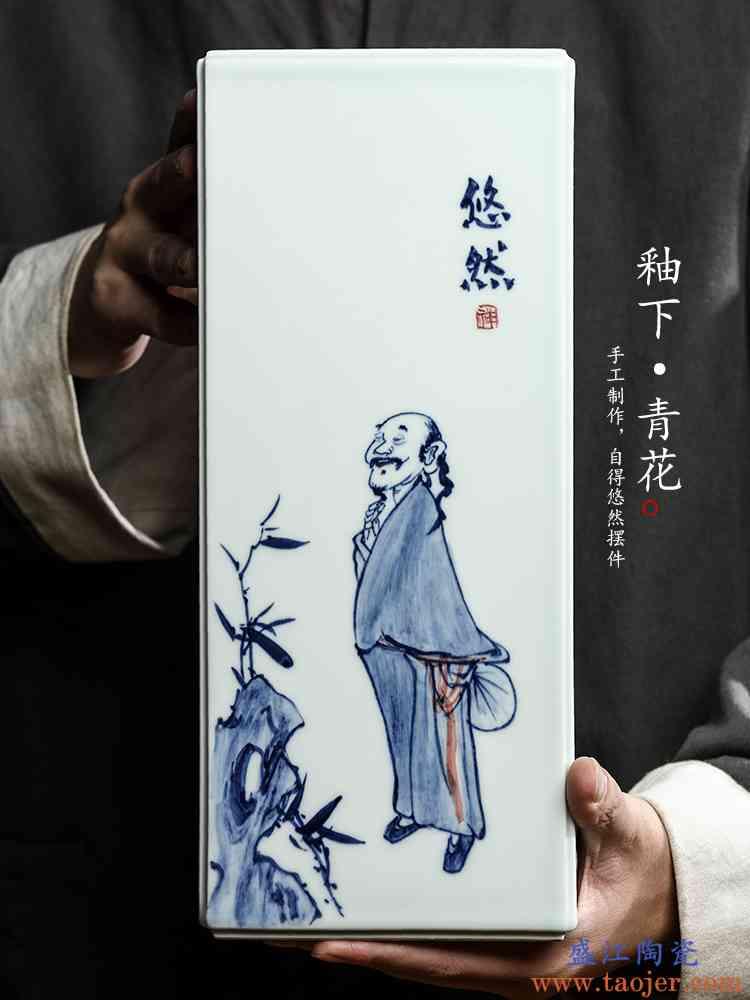 肯顺柯纯手工青花陶瓷摆件景德镇大花瓶镶器手绘复古人物茶具配件