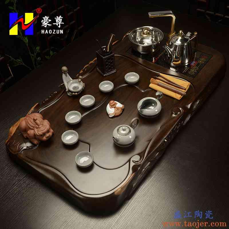 影享 整套黑檀实木茶盘功夫茶具紫砂哥窑套装四合一电磁炉茶台HZ