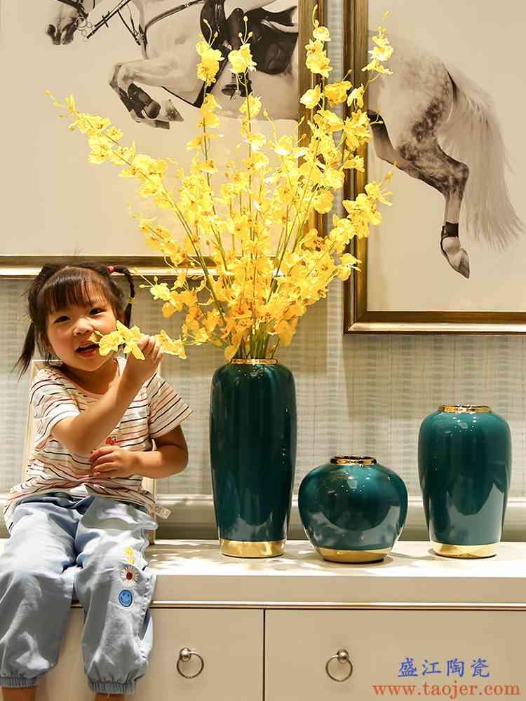 欧式轻奢花瓶摆件客厅插花装饰餐桌电视柜现代创意水培鲜花陶瓷瓶