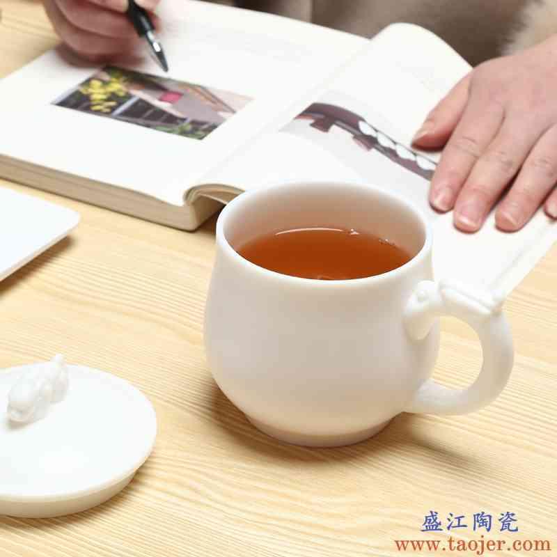 巧慕高档陶瓷杯子带盖茶杯水杯男士办公杯中式主人杯德化白瓷礼品