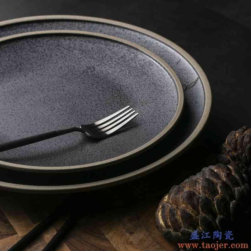 巧慕DY欧式西餐牛排盘黑结晶大盘陶瓷盘菜盘子家用甜品盘圆形平盘
