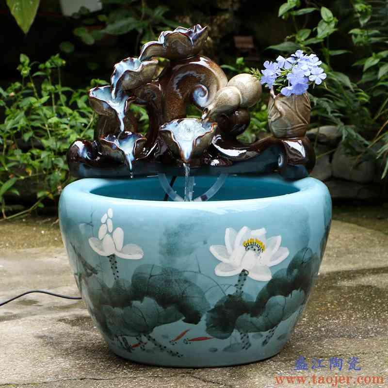 艺魂景德镇陶瓷家居养鱼客厅小型鱼缸流水创意喷泉加湿器流水鱼缸