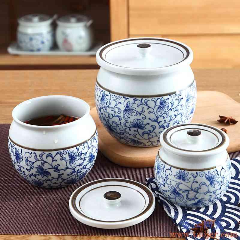 辣椒油罐圆罐子油泼带盖聚宝碗食品罐厨房装陶瓷罐调味盒密封罐