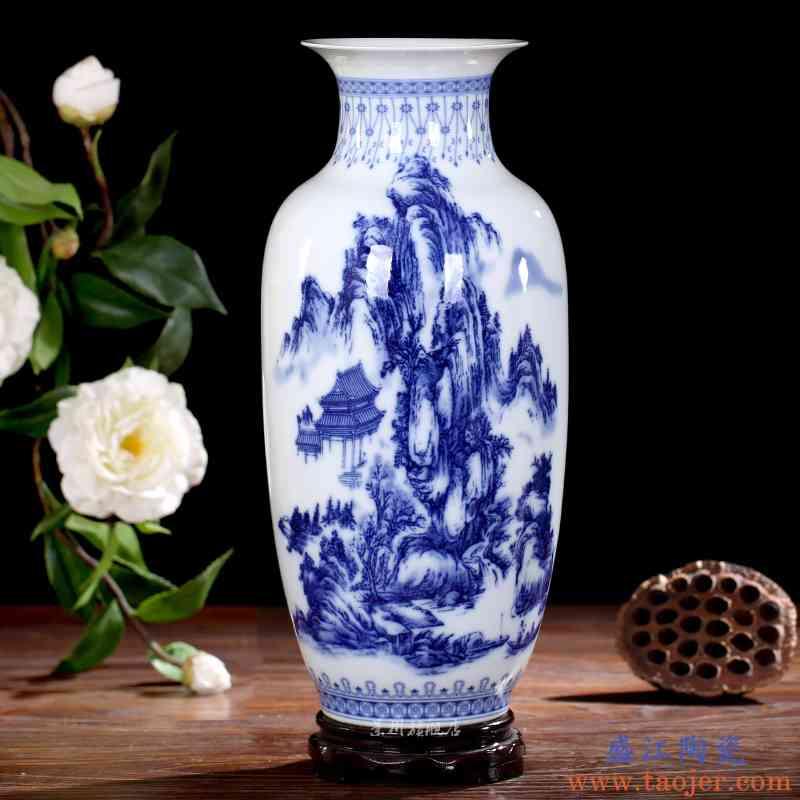 景德镇陶瓷器青花瓷山水画大花瓶现代家居装饰品桌面客厅台面摆件