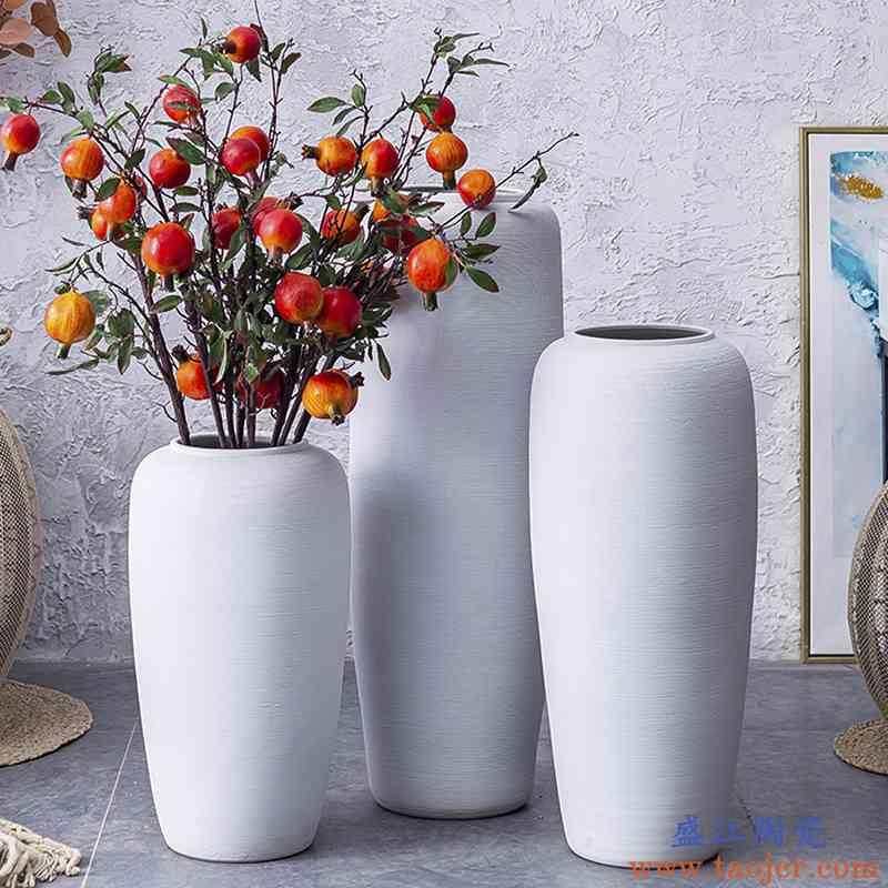 现代轻奢陶瓷落地花瓶大号插花干花摆件客厅装饰高档欧式白色大高
