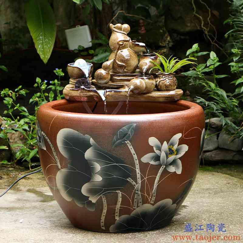 艺魂陶瓷特大号庭院鱼缸荷花缸睡莲缸水缸养鱼花盆室外鱼缸风水缸