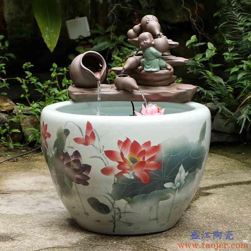 艺魂景德镇陶瓷金鱼缸庭院水缸养鱼缸乌荷花缸乌龟睡莲荷花缸家用