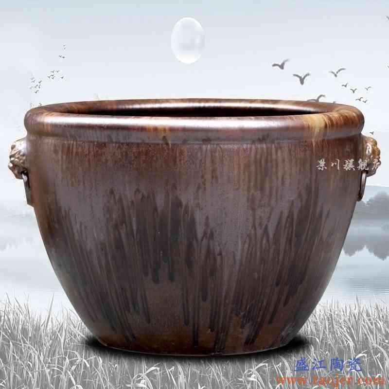 景德镇陶瓷窑变双耳金鱼缸字画缸荷花睡莲缸大号客厅庭院风水缸