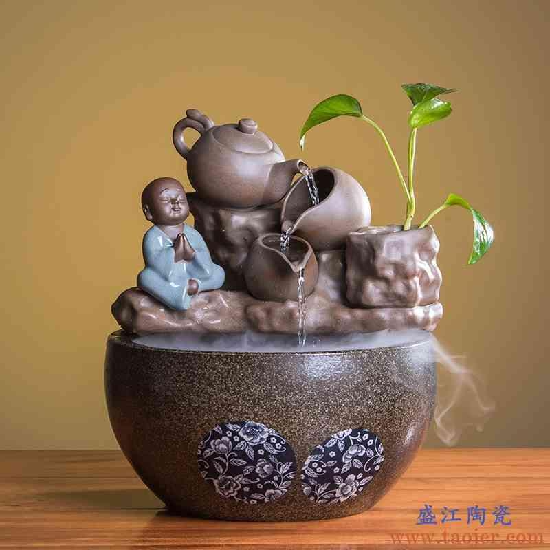 F5陶瓷流水喷泉摆件雾化加湿器水景招财鱼缸禅意桌面客厅室内装饰