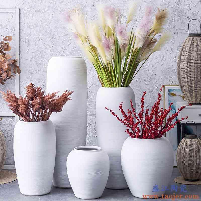 陶瓷大花瓶落地插花客厅酒店摆件欧式田园干花器简约现代ins装饰