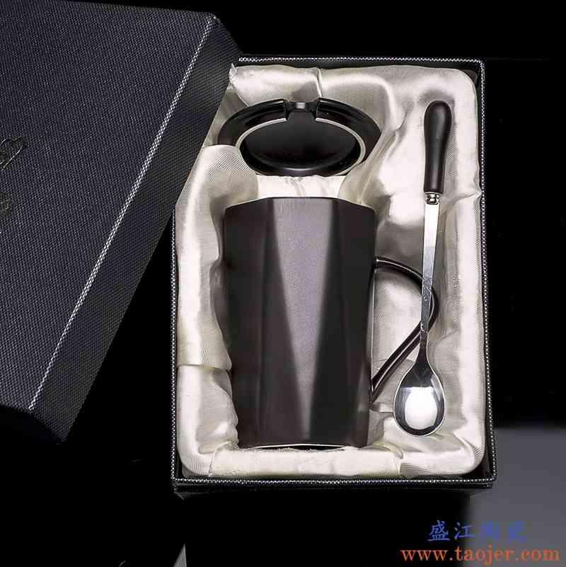 男士磨砂马克杯陶瓷杯子带盖勺办公室复古北欧咖啡杯大容量黑水杯