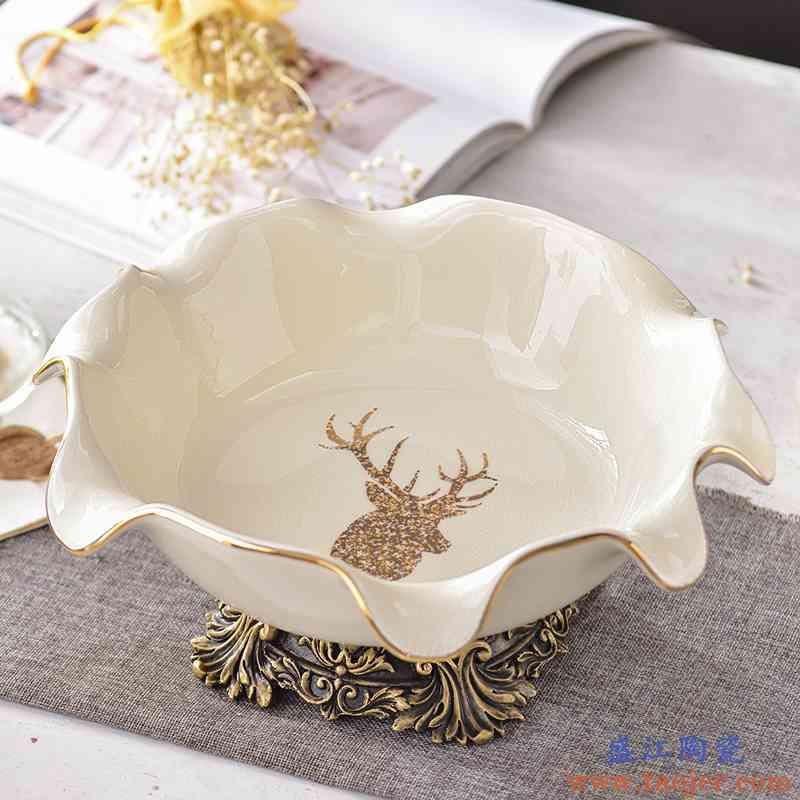 家用客厅水果盘陶瓷创意果盘小茶几装水果简约现代零食盘欧式轻奢