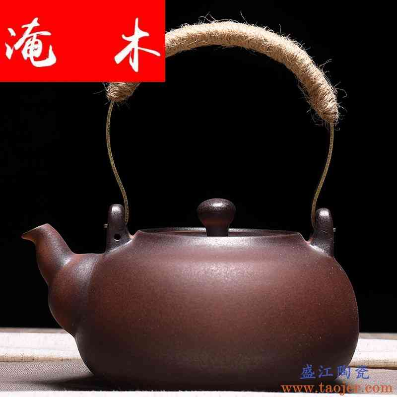 淹木手工陶壶煮茶壶提梁养生壶陶瓷砂铫炭炉电陶炉烧水粗陶煮