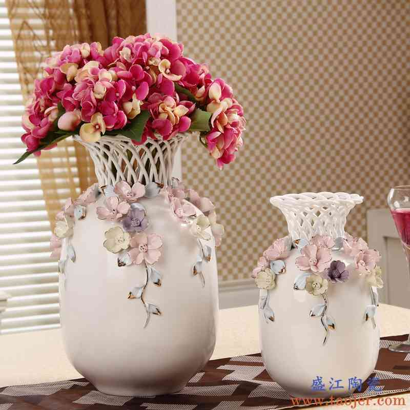 正品欧式手编捏花陶瓷花瓶摆件工艺创意家居客厅电视柜角几酒柜装