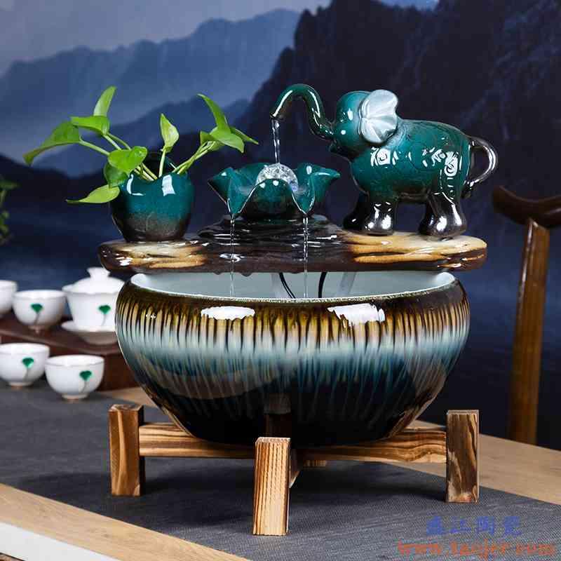 创意陶瓷鱼缸中式小型客厅家用桌面自动循环流水招财金鱼缸养鱼盆