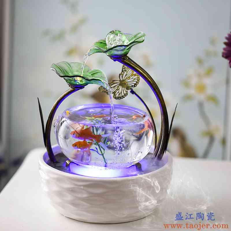 圆形金鱼缸创意迷你玻璃客厅家用桌面小型懒人生态水族箱陶瓷超白