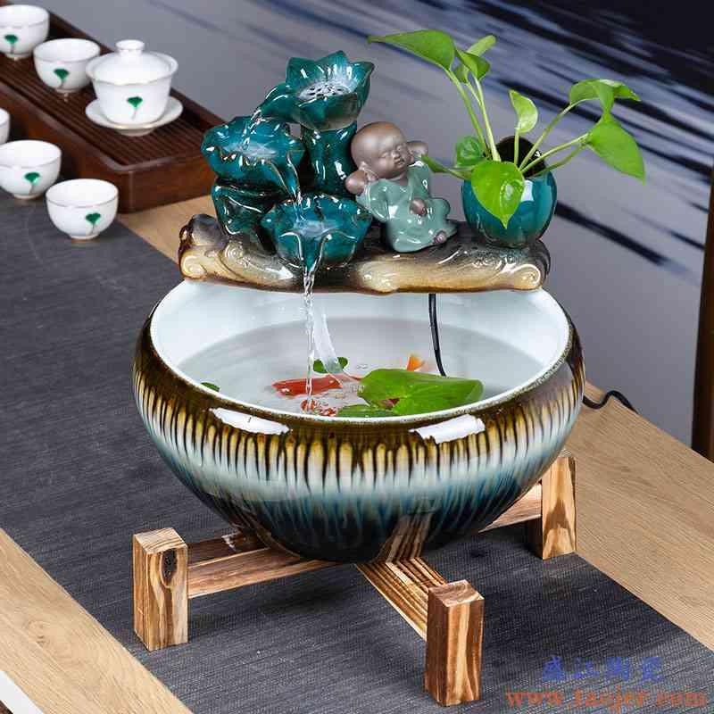 陶瓷鱼缸客厅小型家用流水鱼缸摆件桌面中式循环过滤金鱼缸养鱼盆