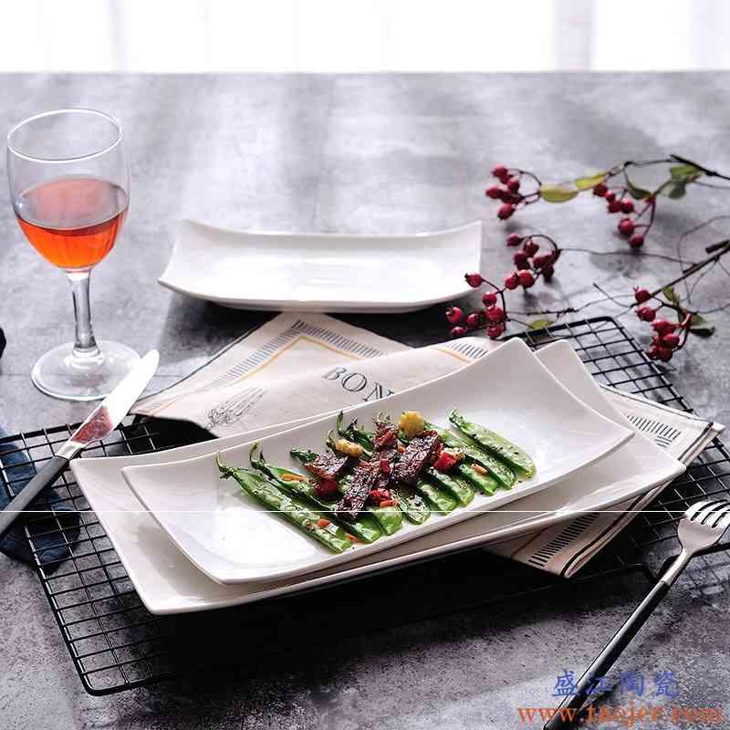 微波炉寿司盘陶瓷盘子长方盘菜盘鱼盘烤箱创意酒店西餐盘子