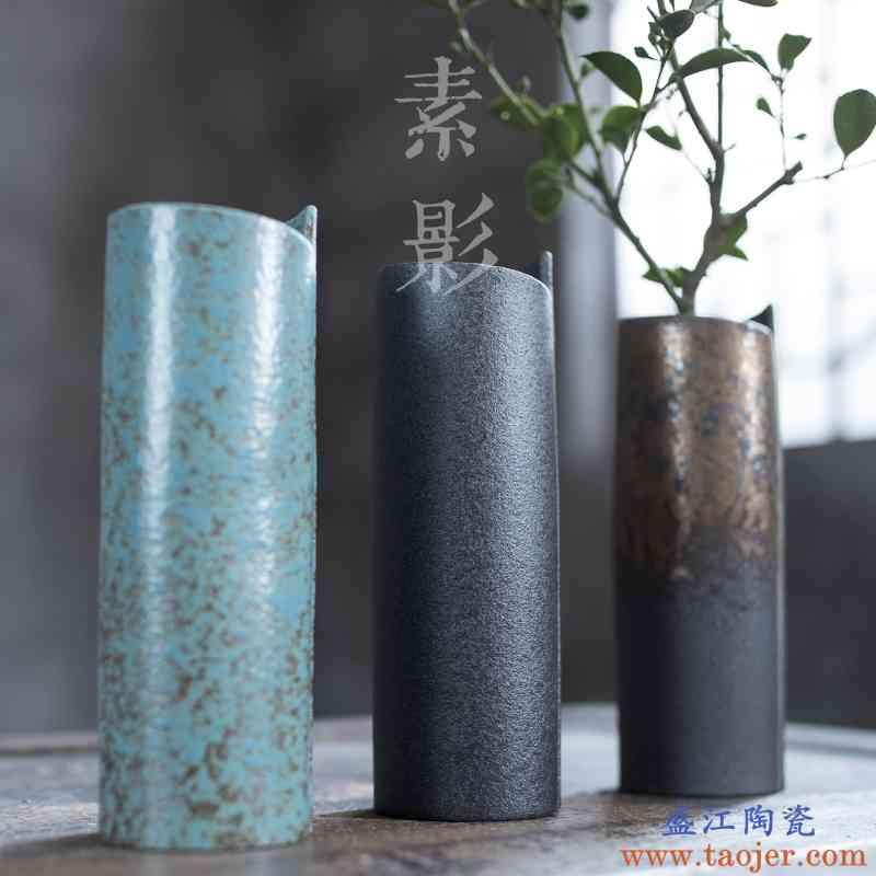 巧慕 窑变竖筒花插陶瓷小花瓶几何家居装饰花瓶素雅简约客厅花器
