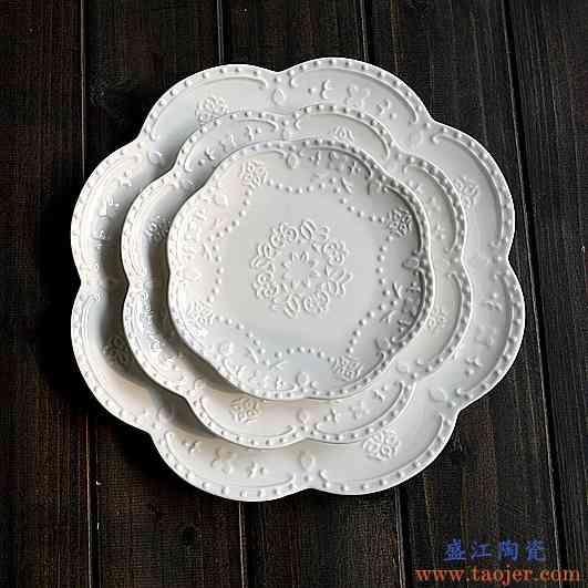 复古蝴蝶浮雕白色陶瓷餐盘家用盘子婚庆花艺摆盘甜品牛排盘西餐