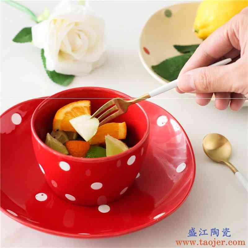 日式波点陶瓷创意盘子餐盘碟子菜盘西餐盘家用餐具套装美式创意