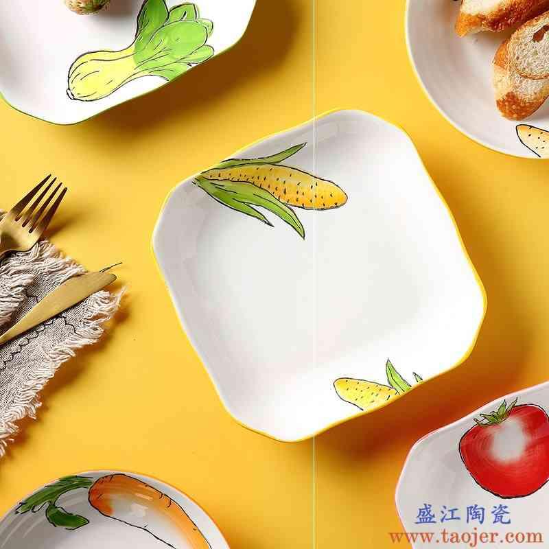 欧式餐具套装创意盘子卡通菜盘陶瓷圆盘可爱的水果盘子家用组合