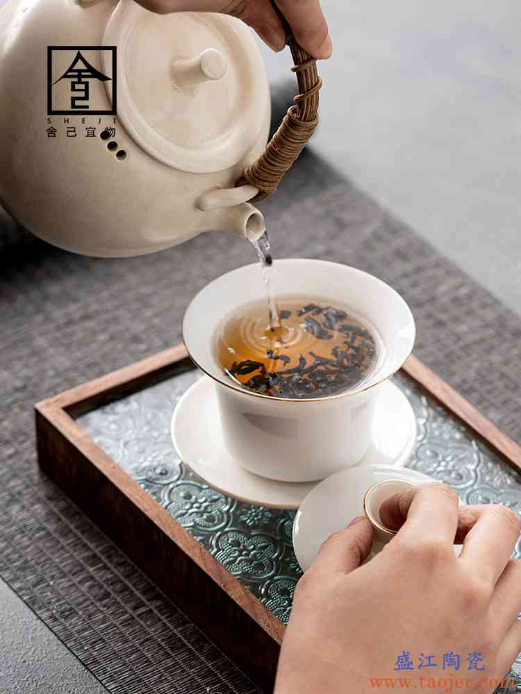 舍己宜物白瓷盖碗茶杯茶碗单个三才德化简约玉瓷盖碗茶功夫茶具
