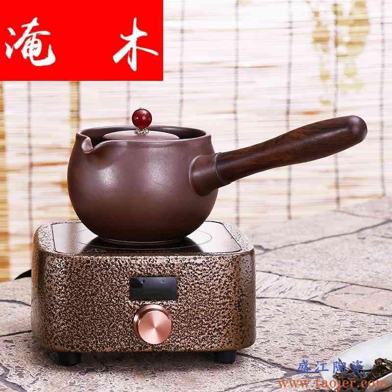 淹木电热煮茶器黑茶煮茶壶套装烧茶壶陶瓷家用电陶炉煮茶器白茶侧