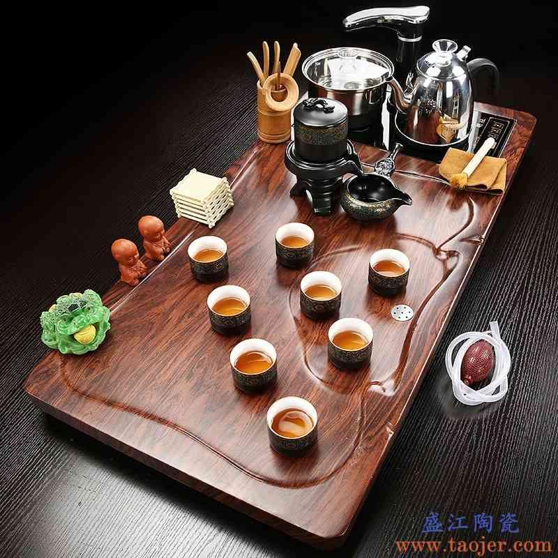 茶具套装家用全自动功夫简约陶瓷紫砂冰裂茶道茶台四合一实木茶盘