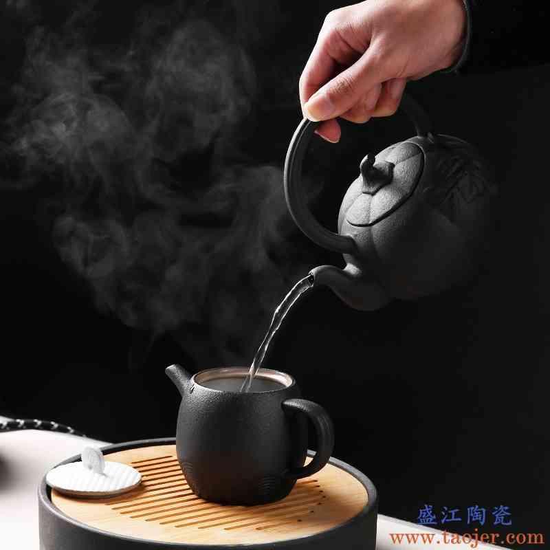 巧慕火山石电陶炉陶瓷煮茶器黑茶煮茶壶侧把壶日式功夫泡茶壶烧水