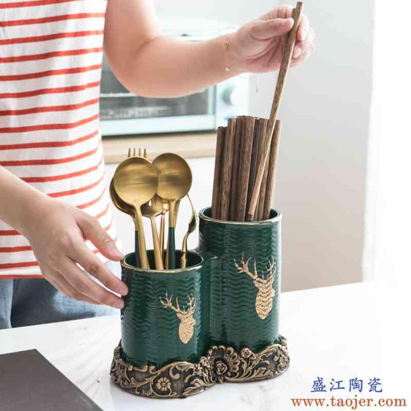 欧式家用厨房多功能陶瓷筷子筒筷筒筷子笼筷笼筷架餐具收纳盒筷筒