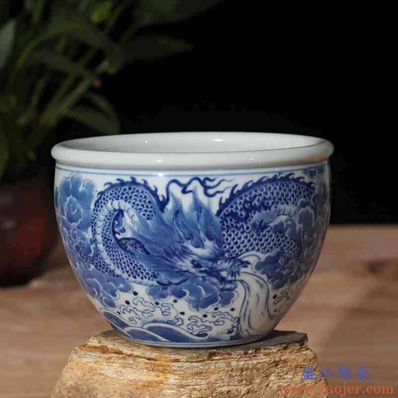景德镇手工青花龙纹陶瓷缸花园陈设养鱼缸平口青花缸居家陈设摆件
