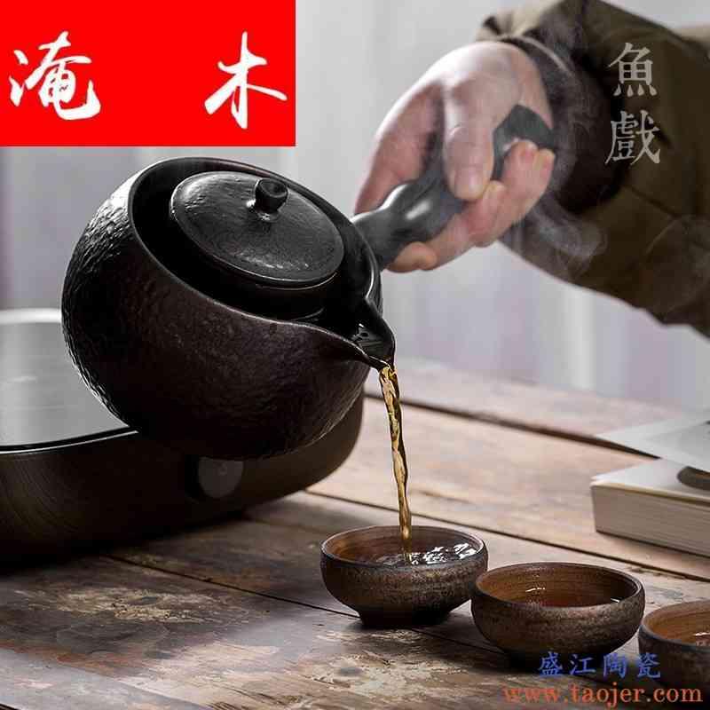 淹木 侧把家用陶瓷煮普洱白茶煮茶器电陶炉熬茶壶粗陶陶壶煮茶壶
