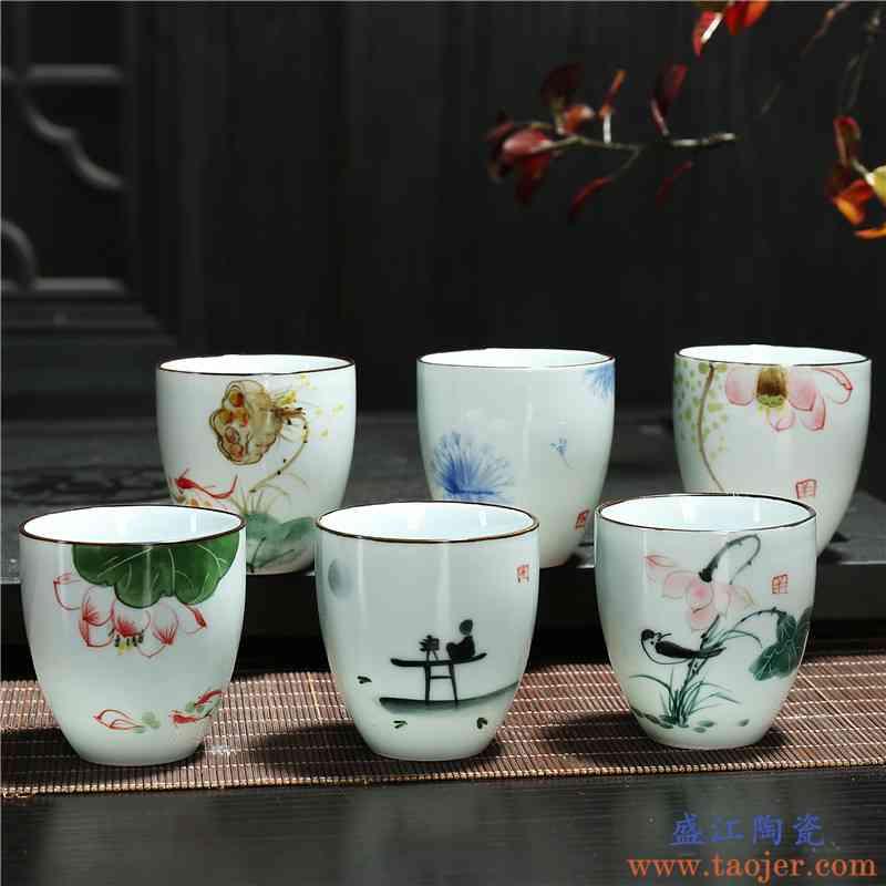 釉下彩二两陶瓷手绘单杯茶杯家用创意中式白酒杯小啤酒杯传统古风