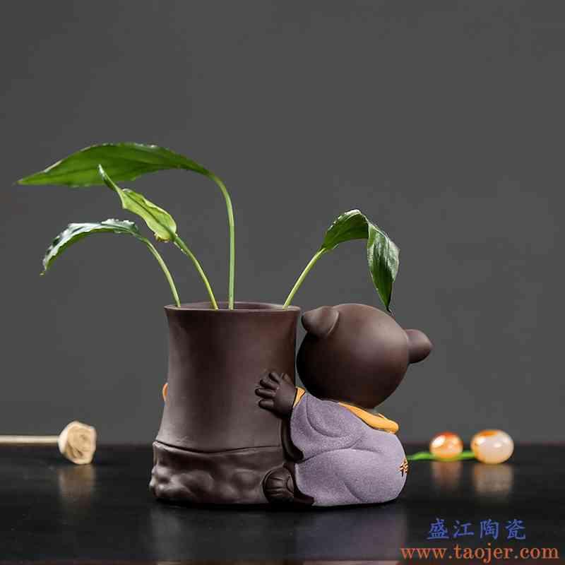 巧慕陶瓷 茶具茶盘配件陶瓷竹 茶道六君子 笔筒 绿植盆栽