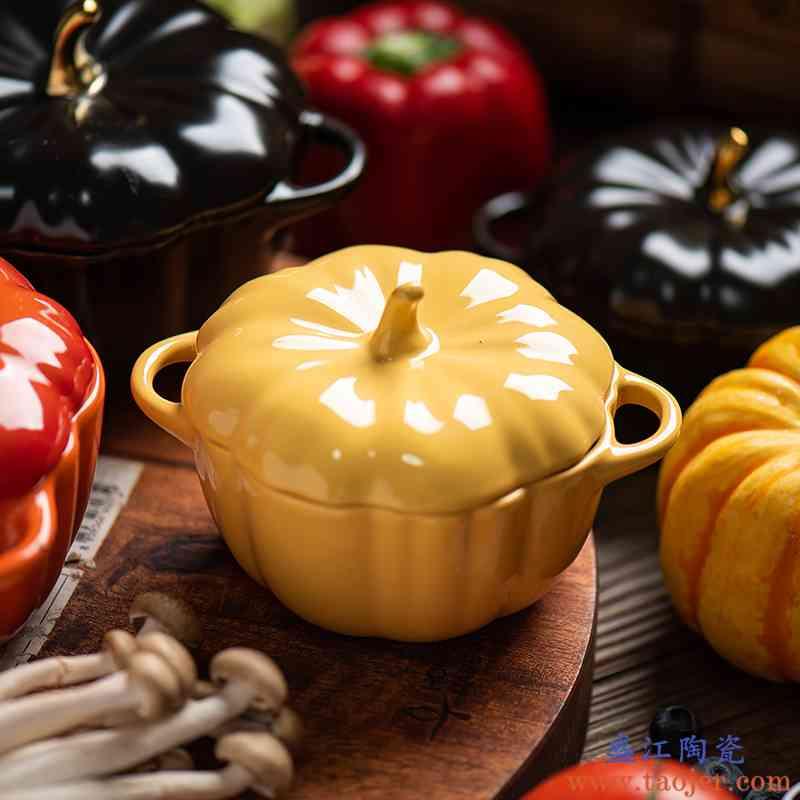 ins北欧创意手绘南瓜带盖面碗烤碗烘焙餐具陶瓷甜品汤碗隔水炖盅