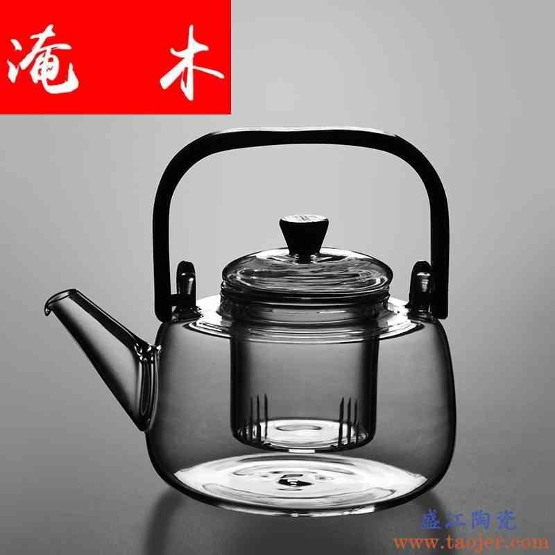 淹木耐热加厚电陶炉专用玻璃煮茶壶 竹把提梁烧水壶普洱泡茶壶花